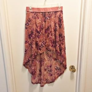 CHARLOTTE RUSSE High Low Floral Lace Skirt Large
